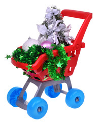 Shopping supermarket cart with christmas toys