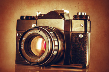 Abstract textured image of vintage camera