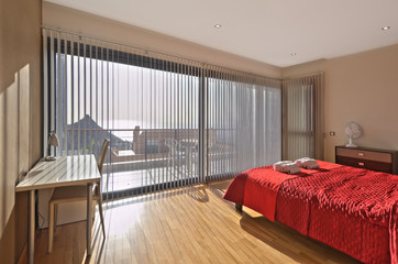 bedroom in the modern villa with sea view