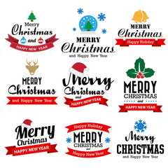 Christmas and Happy new year collection of calligraphic and typo
