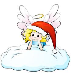 Engel mit Weihnachtsmütze