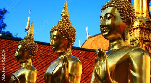 obraz lub plakat Bouddha doré au Temple de DOI Sutep pl Thaïlande