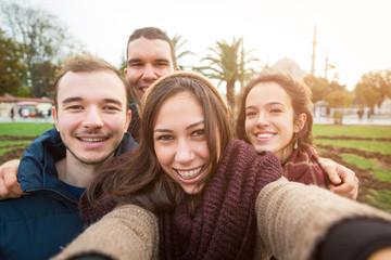 Group of Turkish Friends taking Selfie in Istanbul