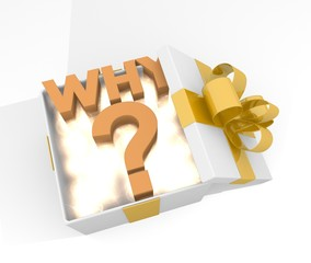 christmas gift box with why icon