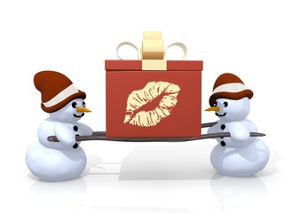 kiss symbol presented by two snowmen
