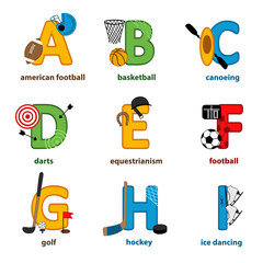 alphabet sport from A to I - vector illustration, eps