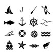 Marine icon set vector - 72631005