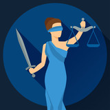 Lady justice illustration in flat design style.