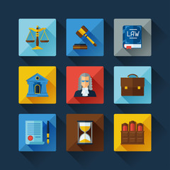 Law icons set in flat design style.