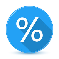 Blue percent sign icon with long shadow