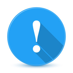 Blue exclamation mark icon with long shadow