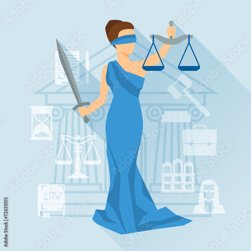 Lady justice illustration in flat design style. - 72631055