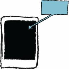 doodle blank polaroid frame and speech bubble