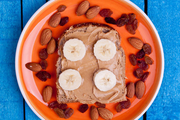 peanut butter bread with banana