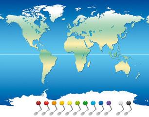 Mappemonde - Continents Épingles
