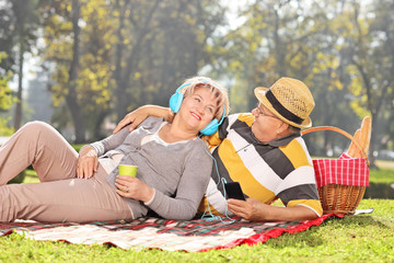 Mature couple listening music on a picnic in park