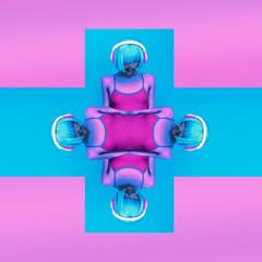 crazy girl DJ.stylish colors modern music