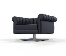 Modern Black Leather Armchair - Angled View