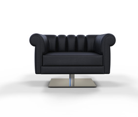 Modern Black Leather Armchair - Front View