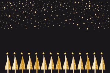Goldene Christbäume mit Sternen vor schwarz