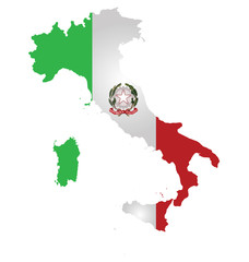 Flag and coat of arms of the Italian Republic