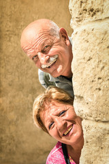 Happy senior couple in love during retirement - Joyful elderly