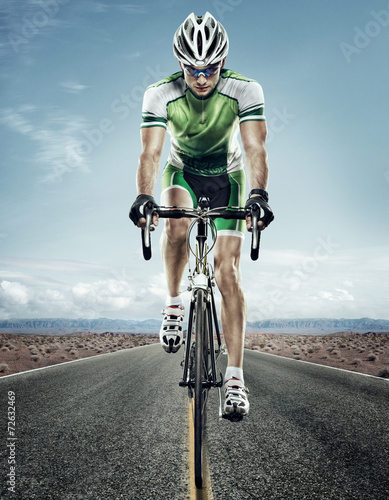 Plexiglas Wielersport Sport. Road cyclist.