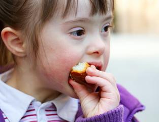 Portrait of girl that eating baguette