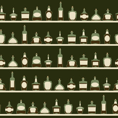 Seamless pattern with bottles.