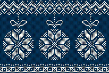 Winter Holiday Seamless Knitted Pattern with Christmas Tree Ball