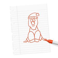 papierblatt filzstift weihnachtsmann I