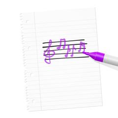 papierblatt filzstift musiknoten I