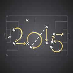 2015 golden soccer strategy plan vector