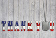 Leinwanddruck Bild - military dog tag thank you on wood