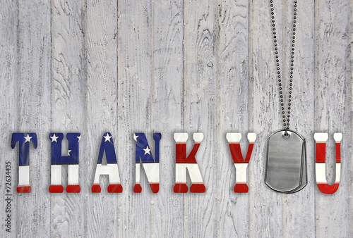 military dog tag thank you on wood - 72634435