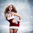 sexy Weihnachtsfrau im Schnee
