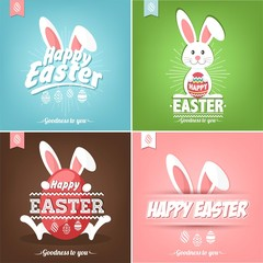 Set Of Happy Easter Illustration With Eggs And Rabbit