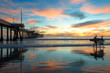 Spectacular Sunset with Surfers at Venice Beach California - 72634804