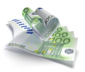 100 Euro-Herz auf Scheinen