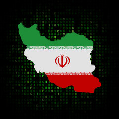 Iran map flag on hex code illustration