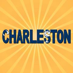 Charleston flag text with sunburst illustration