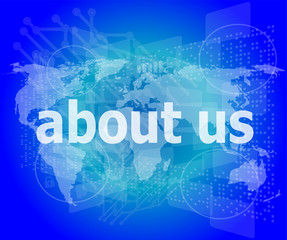 pixelated words about us on digital screen, business concept