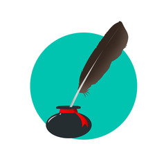 Inkwell with a feather
