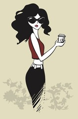 illustration of a pretty girl with coffee