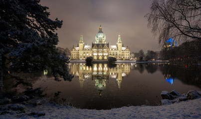 City Hall of Hannover, Germany at Winter by night