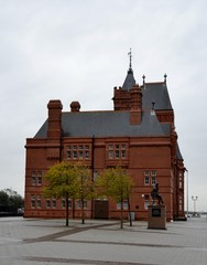 Building from Cardiff bay and grey sky