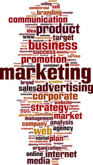 Marketing word cloud concept. Vector illustration
