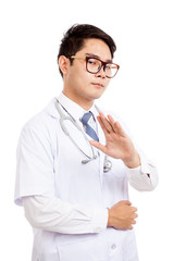 Asian male doctor said talk to my hand