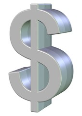 Dollar symbol 3d glossy surface and isolated