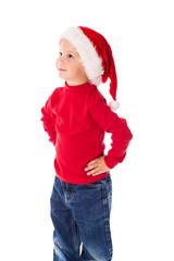 Little boy in Christmas hat